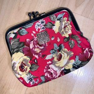ANNA SUI Floral Double Slot Coin Purse / Pouch